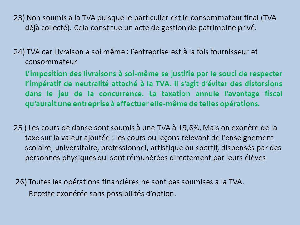 23) Non soumis a la TVA puisque le particulier est le consommateur final (TVA déjà collecté). Cela constitue un acte de gestion de patrimoine privé.
