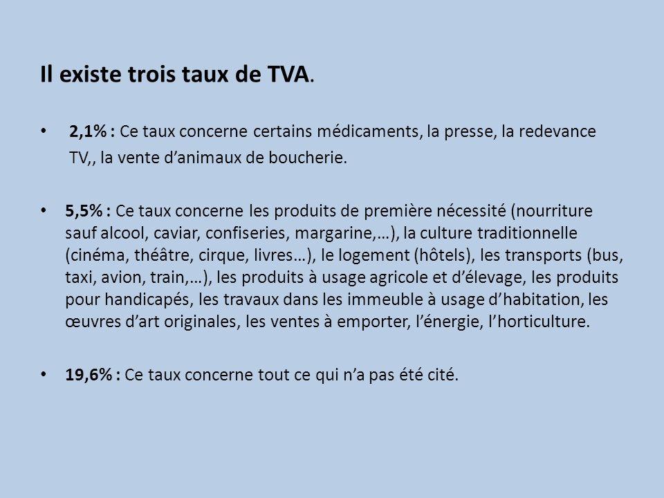 Il existe trois taux de TVA.