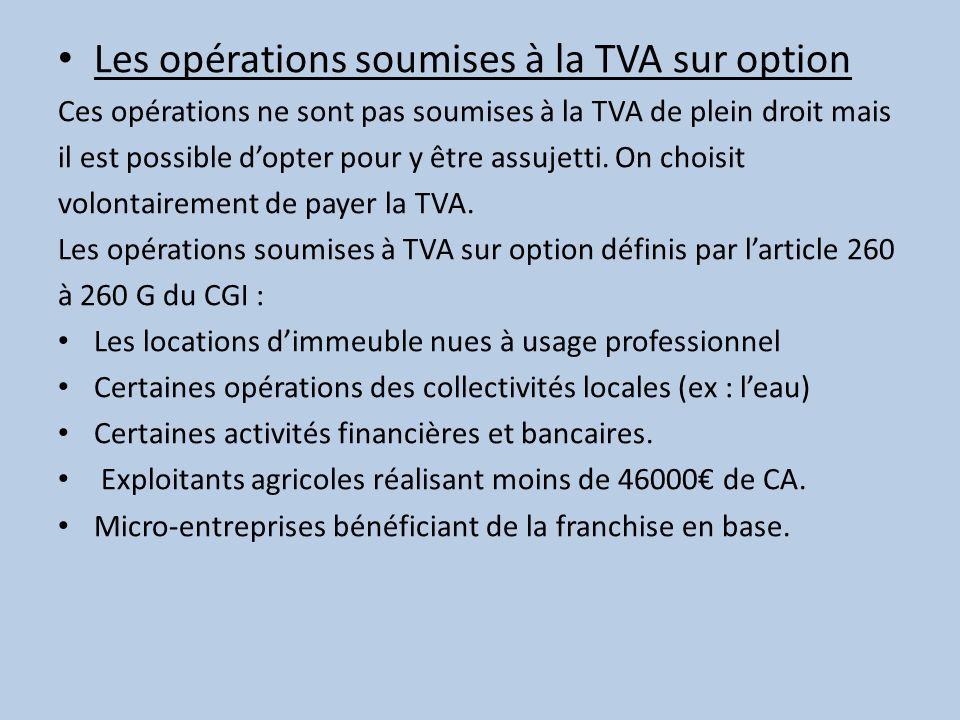 Les opérations soumises à la TVA sur option