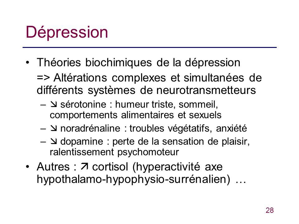 Dépression Théories biochimiques de la dépression