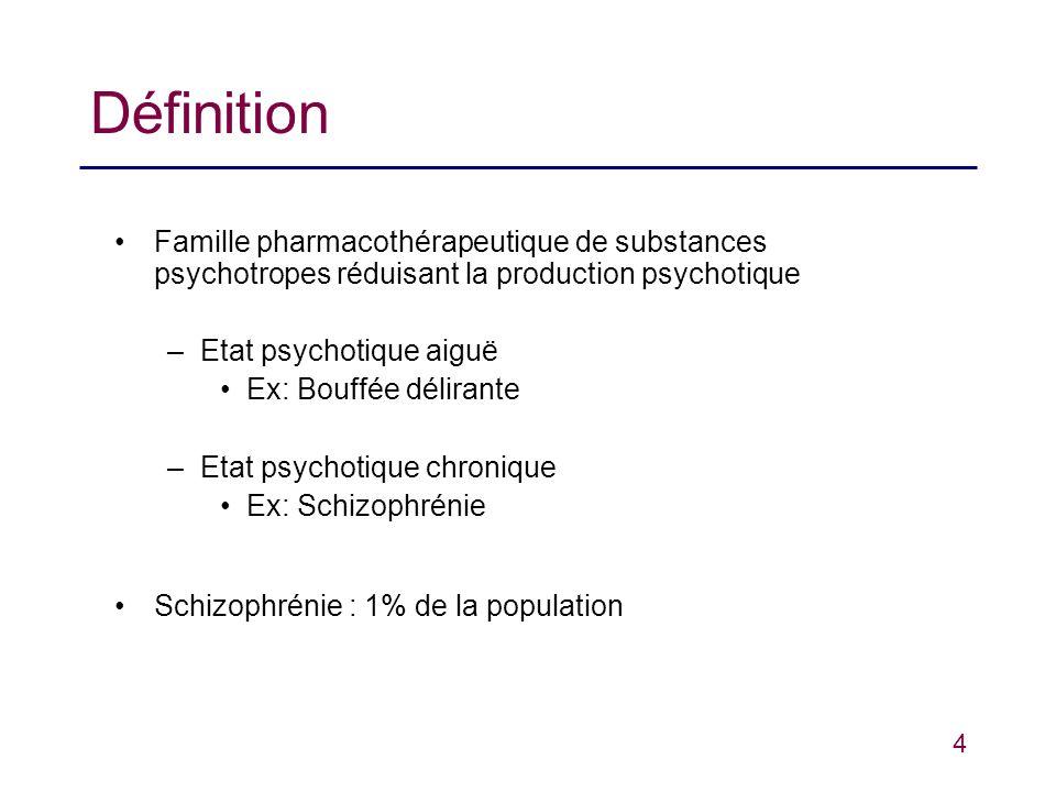 Définition Famille pharmacothérapeutique de substances psychotropes réduisant la production psychotique.