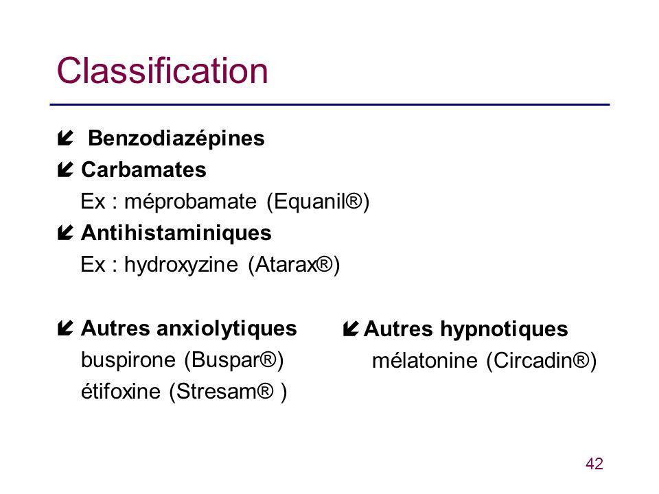 Classification  Benzodiazépines Carbamates