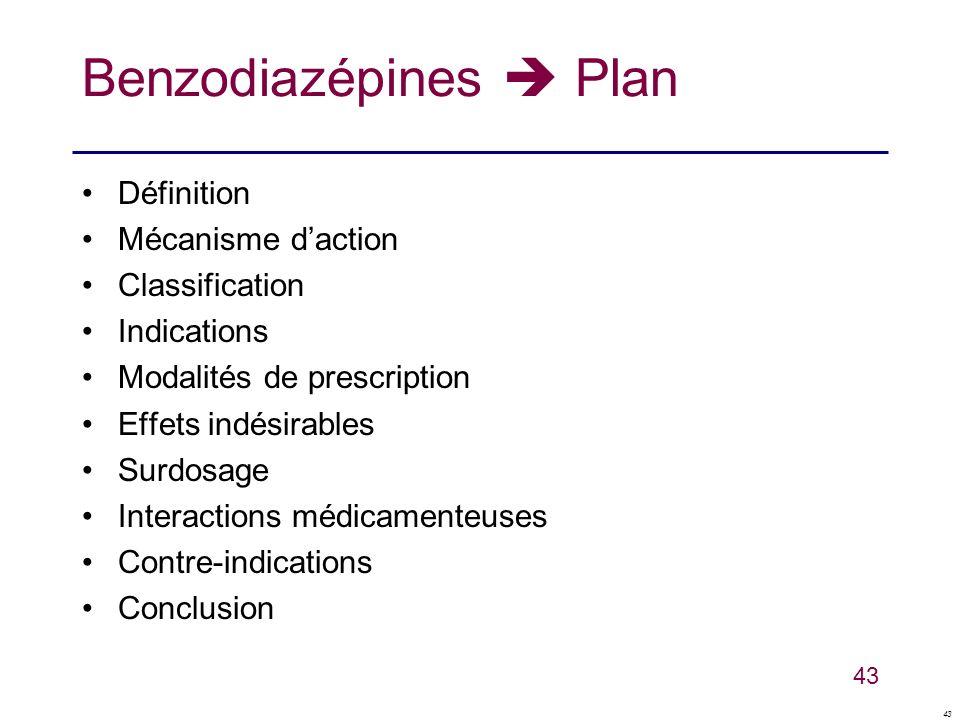 Benzodiazépines  Plan