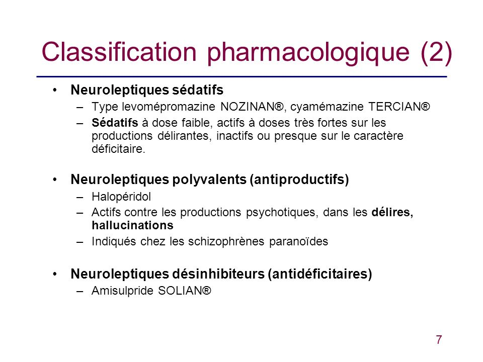 Classification pharmacologique (2)