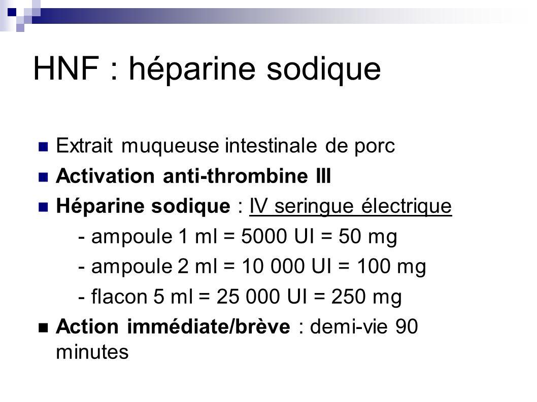 HNF : héparine sodique Extrait muqueuse intestinale de porc