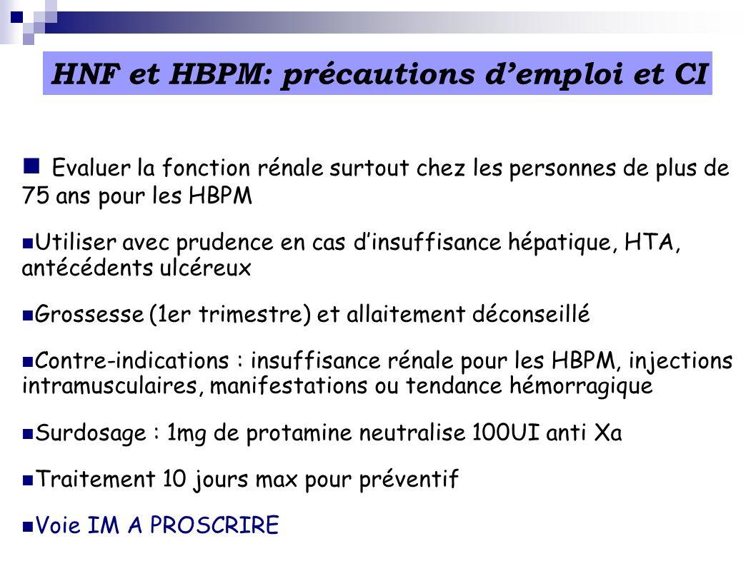 HNF et HBPM: précautions d'emploi et CI