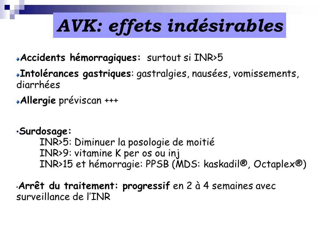 AVK: effets indésirables
