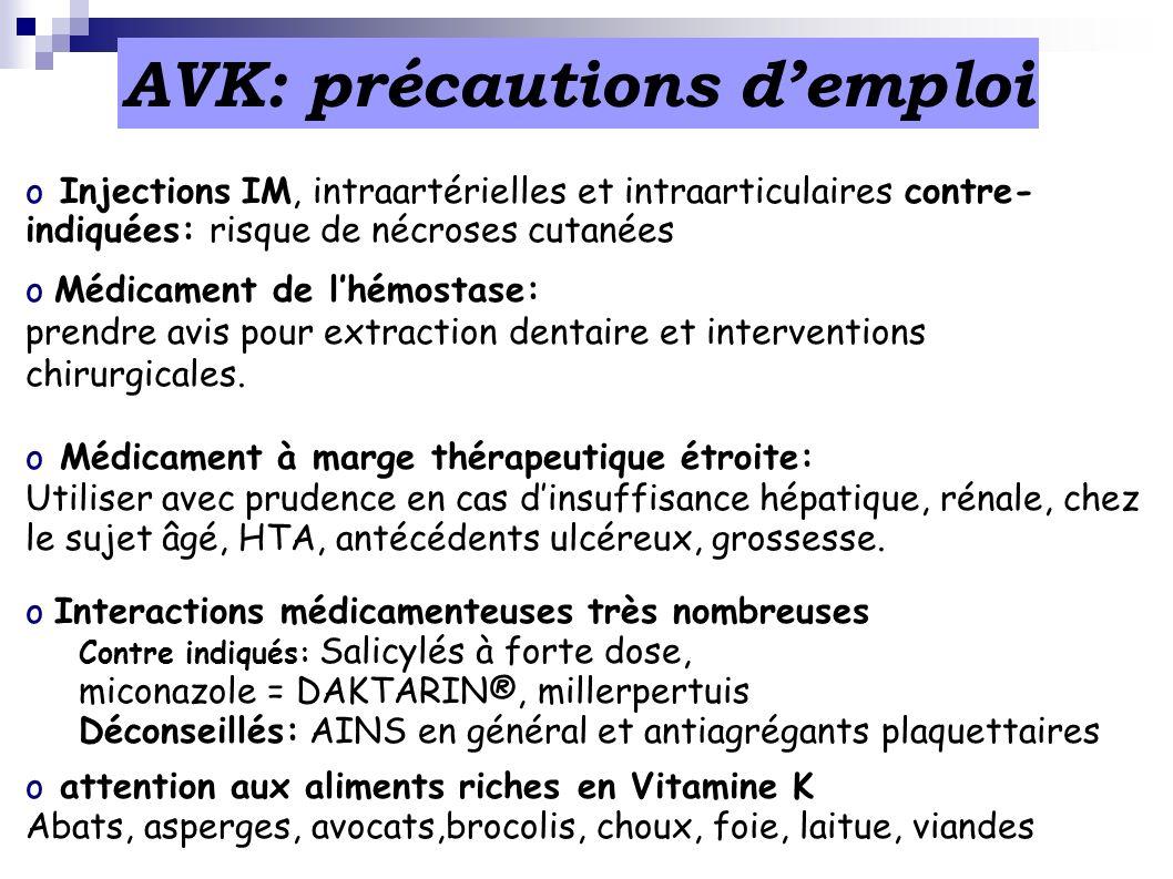 AVK: précautions d'emploi