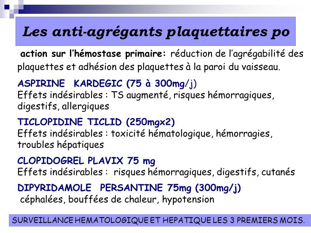 Les anti-agrégants plaquettaires po