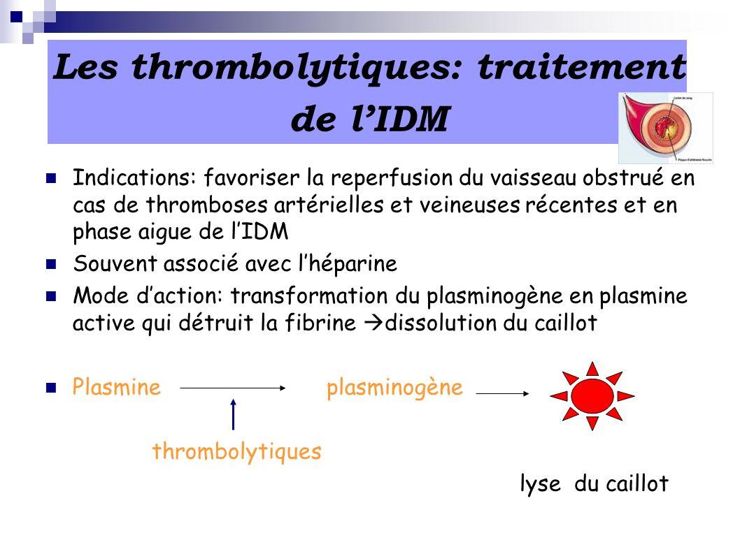 Les thrombolytiques: traitement de l'IDM