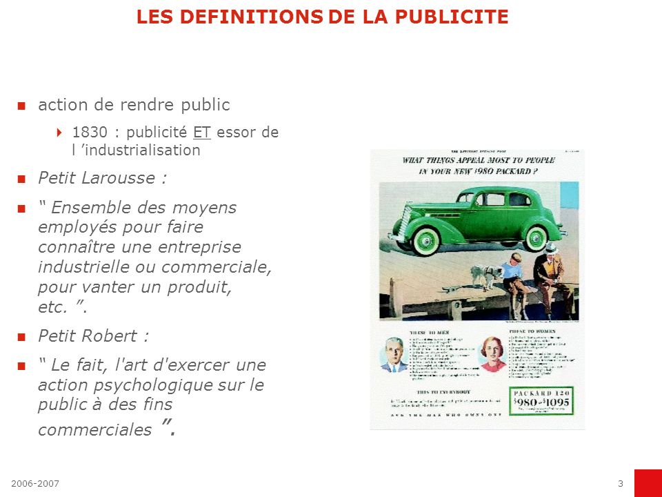 LES DEFINITIONS DE LA PUBLICITE