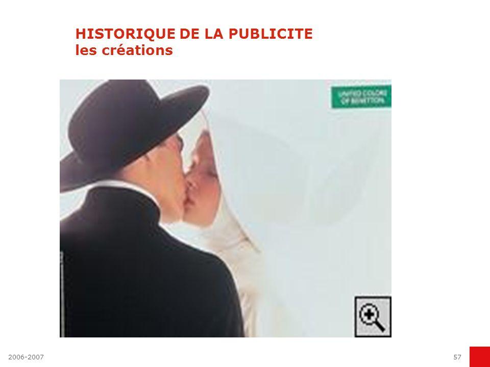 HISTORIQUE DE LA PUBLICITE les créations