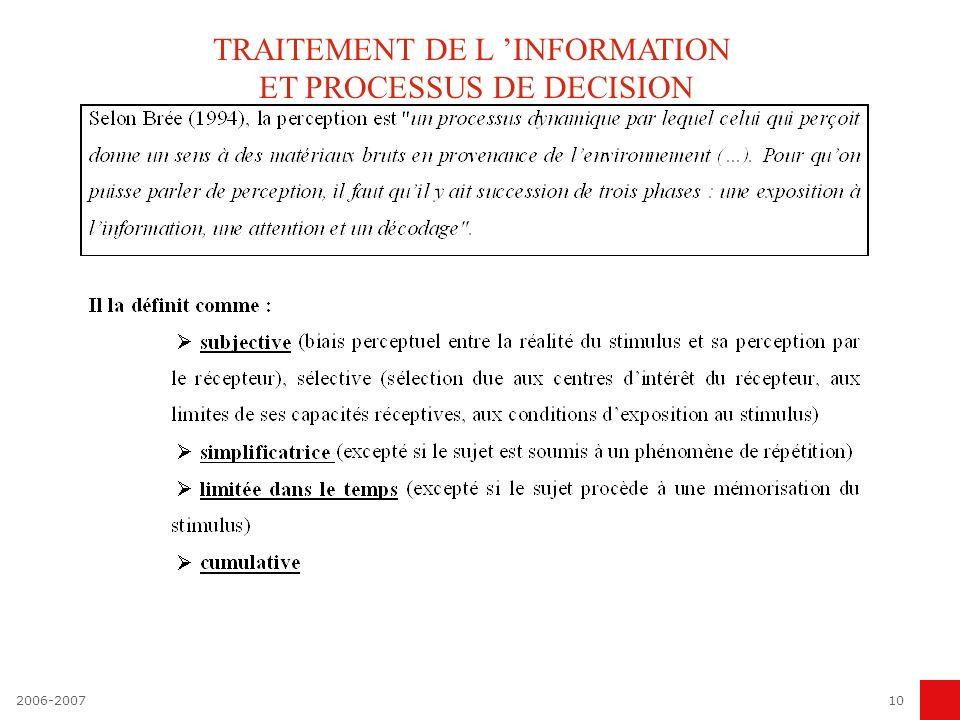 TRAITEMENT DE L 'INFORMATION ET PROCESSUS DE DECISION