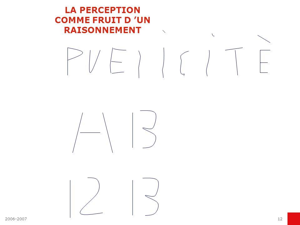 LA PERCEPTION COMME FRUIT D 'UN RAISONNEMENT