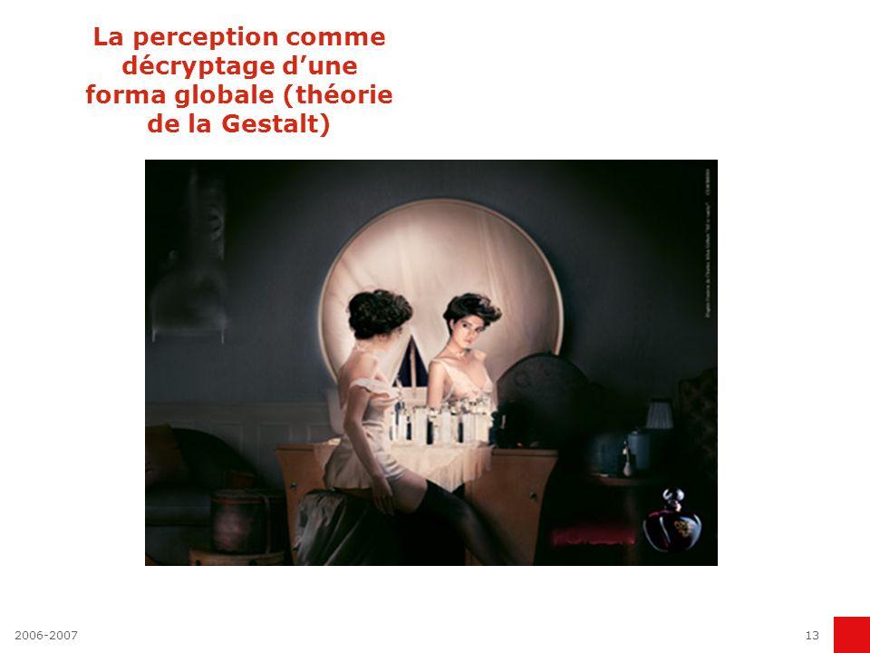 La perception comme décryptage d'une forma globale (théorie de la Gestalt)