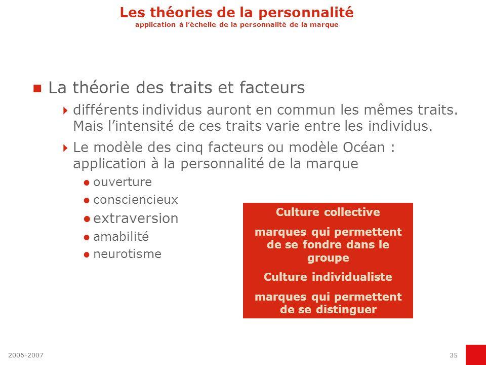 La théorie des traits et facteurs