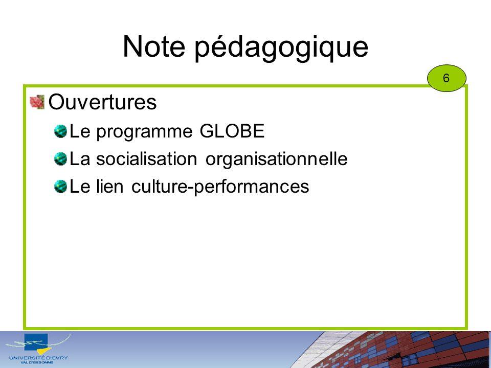 Note pédagogique Ouvertures Le programme GLOBE