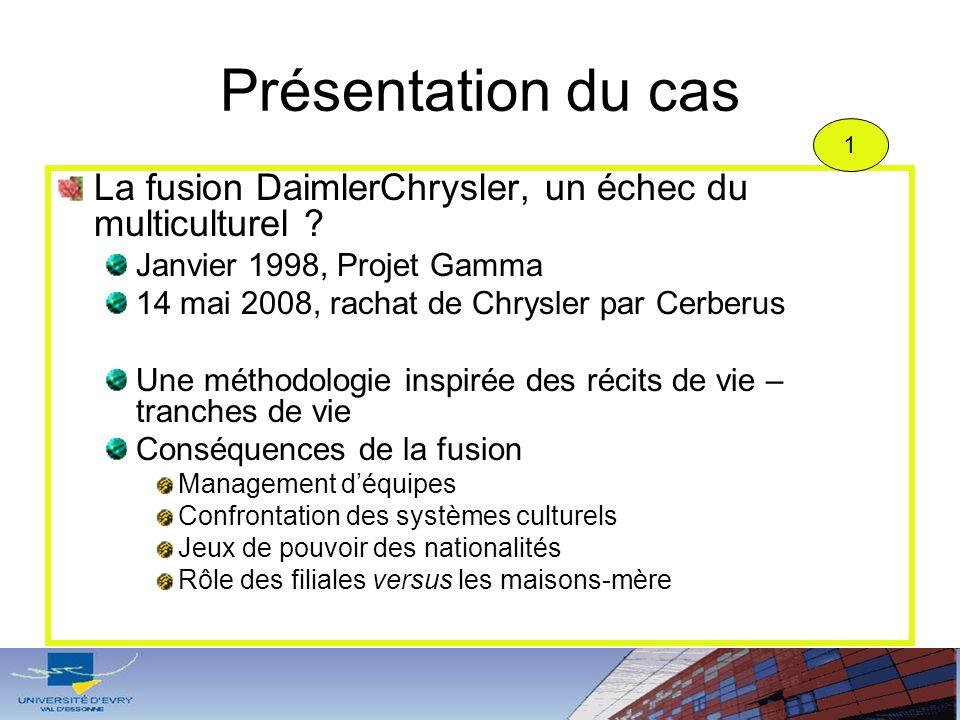 Présentation du cas 1. La fusion DaimlerChrysler, un échec du multiculturel Janvier 1998, Projet Gamma.