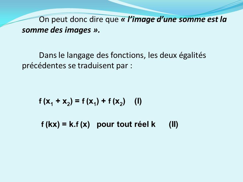 On peut donc dire que « l'image d'une somme est la somme des images ».