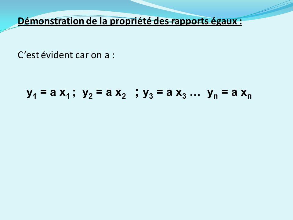 y1 = a x1 ; y2 = a x2 ; y3 = a x3 … yn = a xn