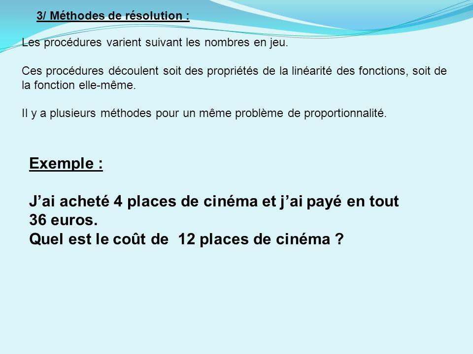 J'ai acheté 4 places de cinéma et j'ai payé en tout 36 euros.