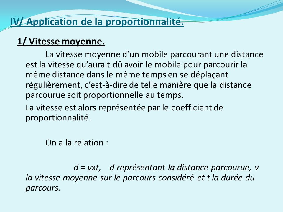 IV/ Application de la proportionnalité.