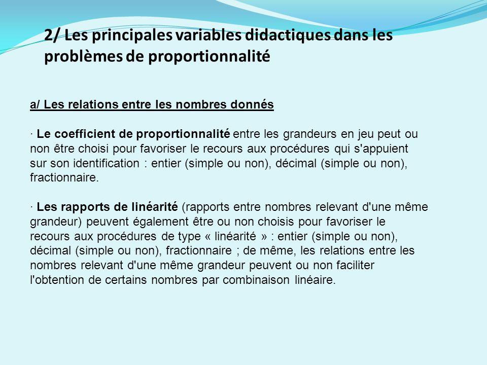2/ Les principales variables didactiques dans les problèmes de proportionnalité