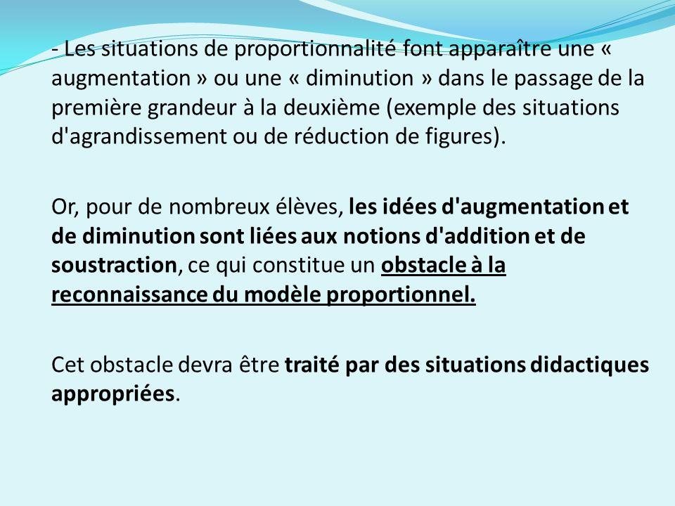 - Les situations de proportionnalité font apparaître une « augmentation » ou une « diminution » dans le passage de la première grandeur à la deuxième (exemple des situations d agrandissement ou de réduction de figures).