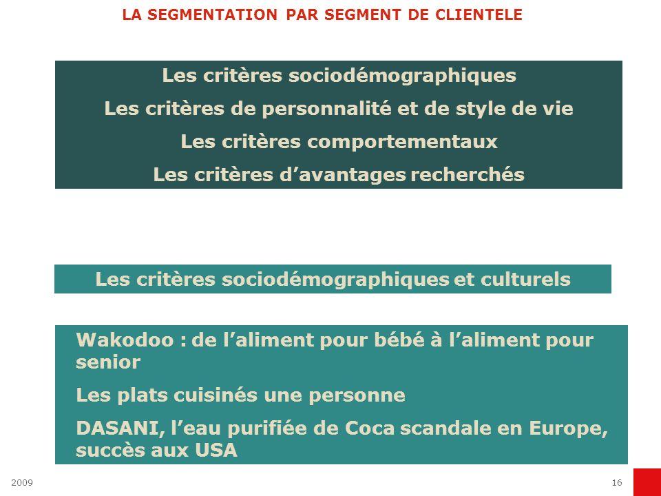 LA SEGMENTATION PAR SEGMENT DE CLIENTELE