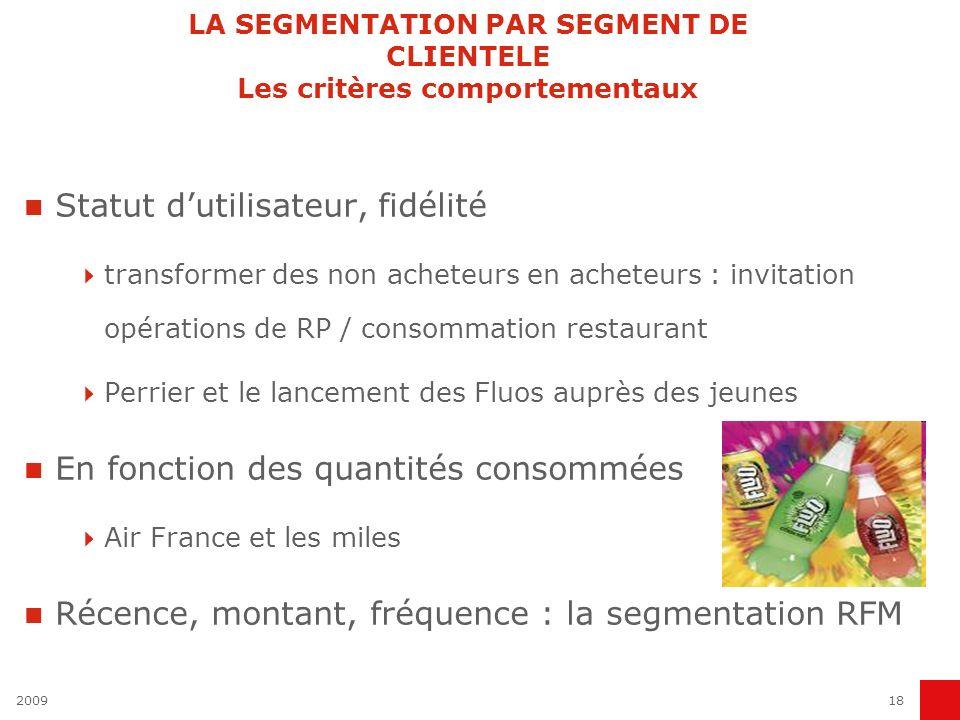 LA SEGMENTATION PAR SEGMENT DE CLIENTELE Les critères comportementaux