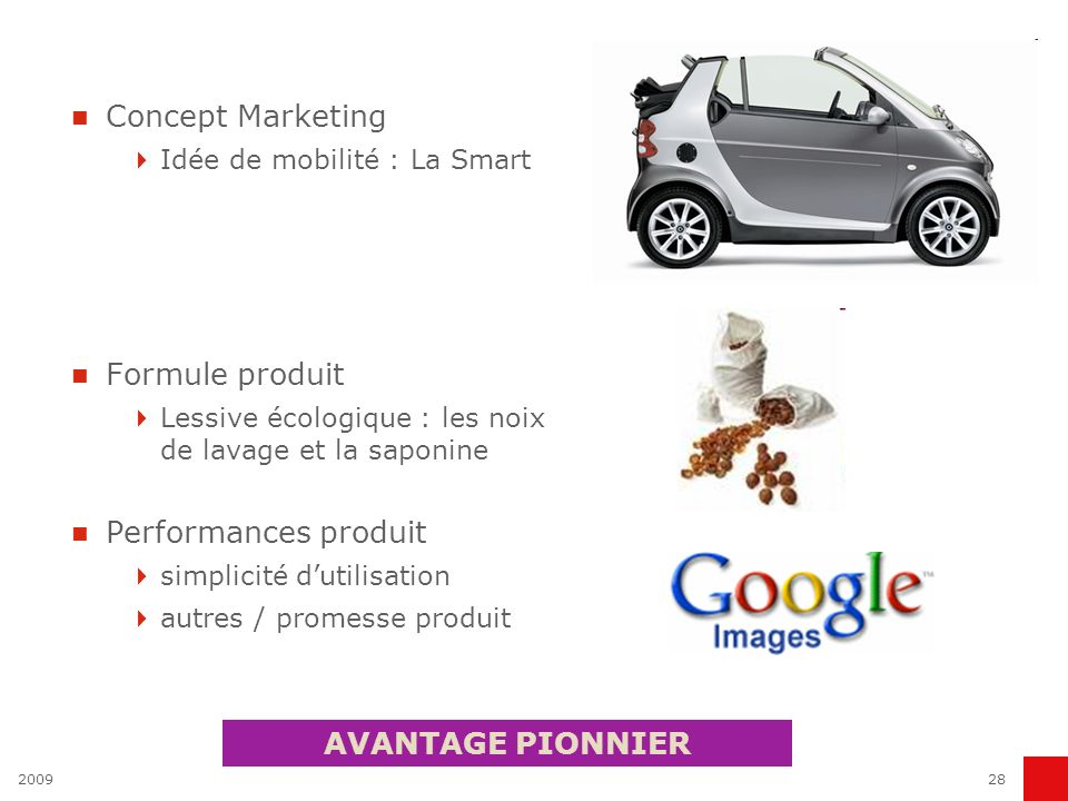 Concept Marketing Formule produit Performances produit