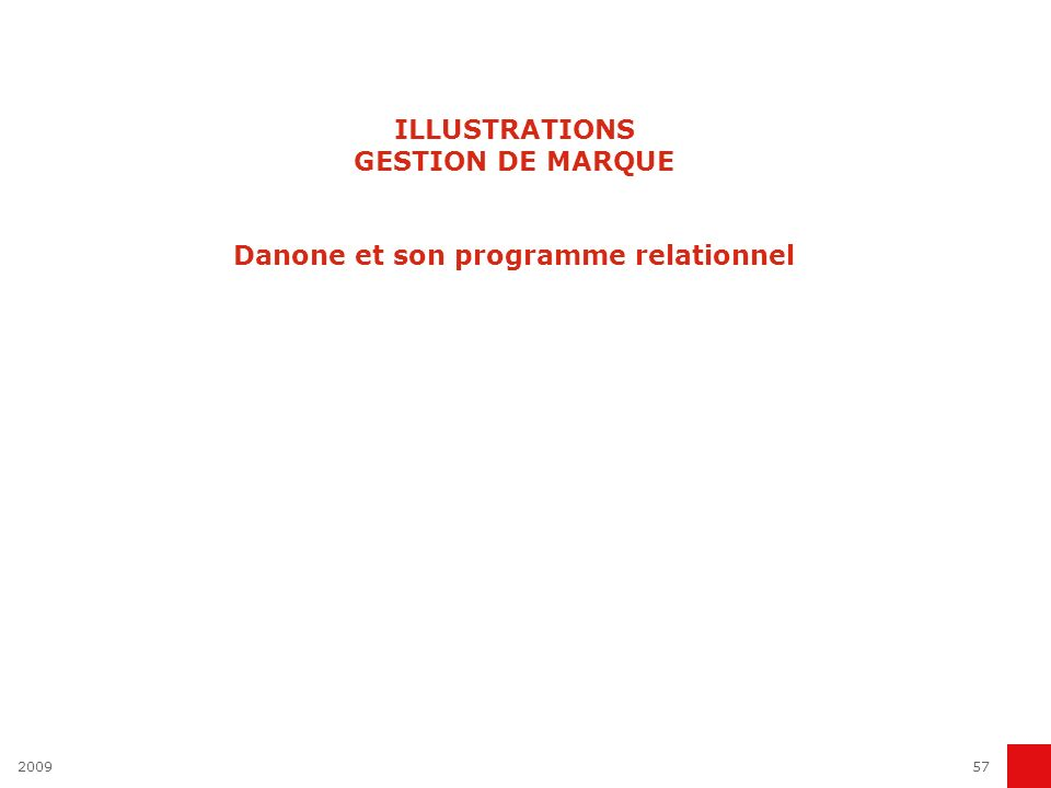 ILLUSTRATIONS GESTION DE MARQUE Danone et son programme relationnel