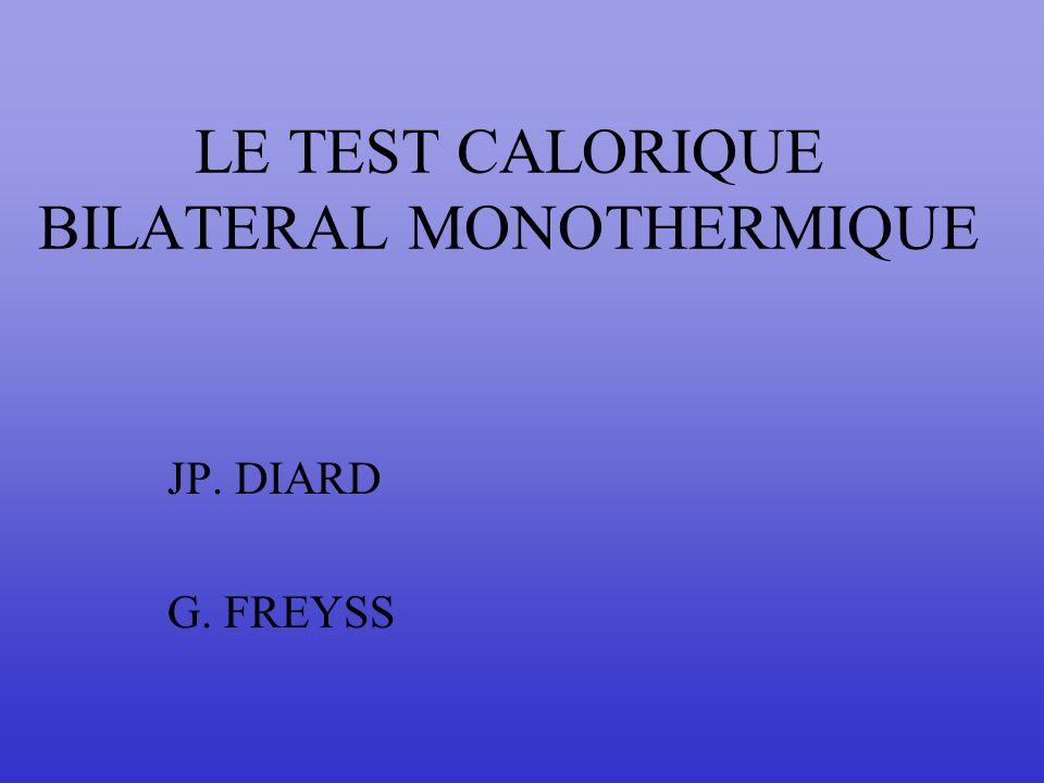 LE TEST CALORIQUE BILATERAL MONOTHERMIQUE