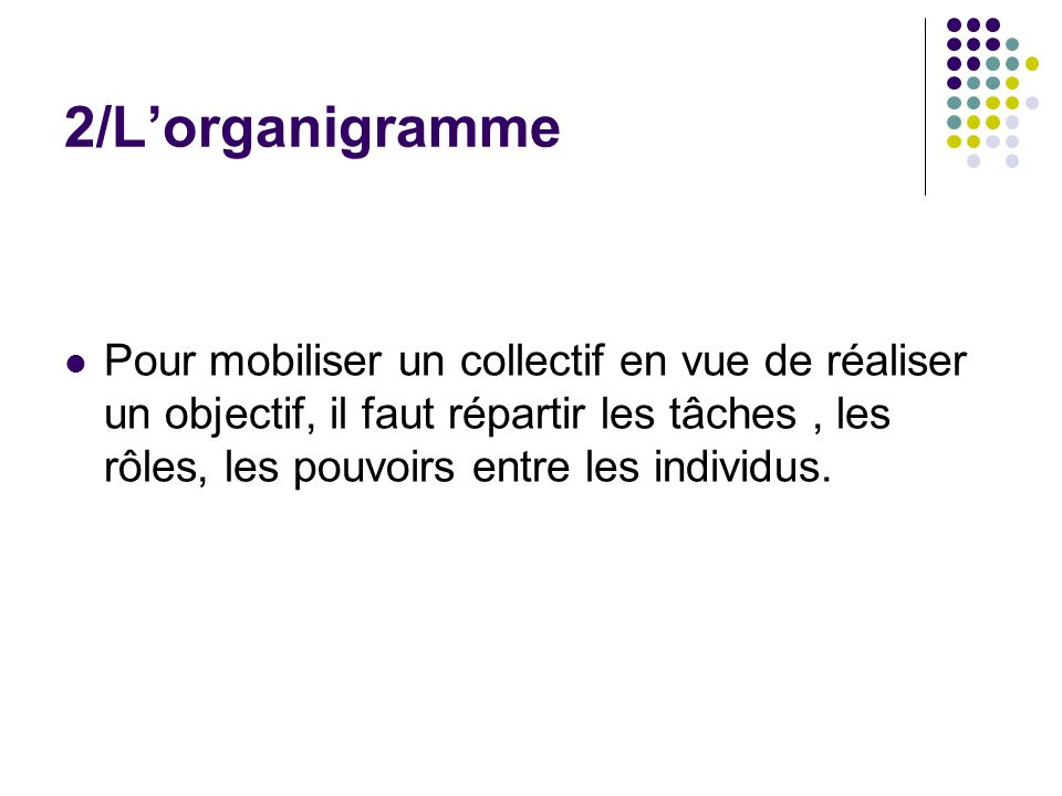 2/L'organigramme
