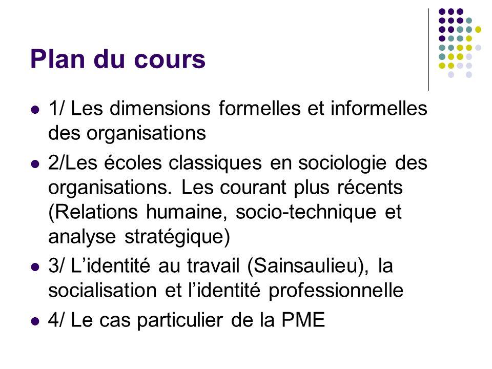 Plan du cours 1/ Les dimensions formelles et informelles des organisations.