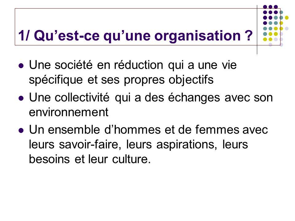 1/ Qu'est-ce qu'une organisation