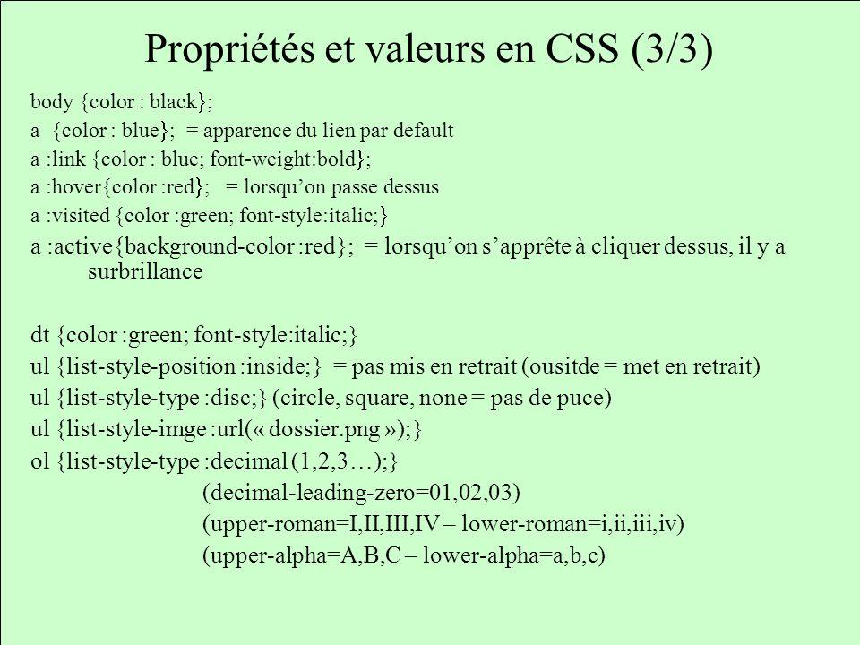 Propriétés et valeurs en CSS (3/3)