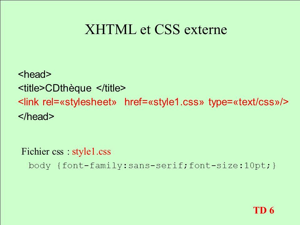 XHTML et CSS externe <head> <title>CDthèque </title>