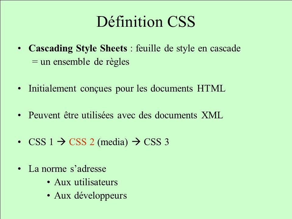 Définition CSS Cascading Style Sheets : feuille de style en cascade