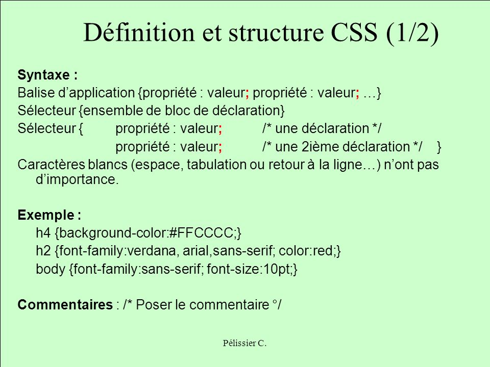 Définition et structure CSS (1/2)