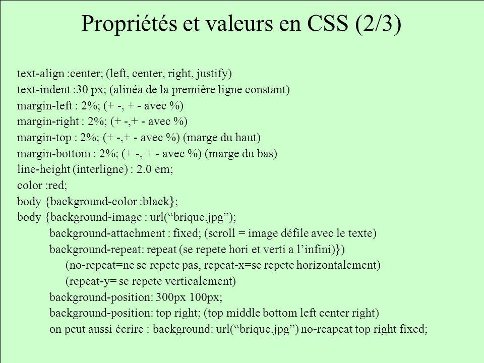 Propriétés et valeurs en CSS (2/3)
