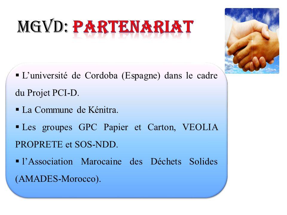 MGVD: Partenariat L'université de Cordoba (Espagne) dans le cadre du Projet PCI-D. La Commune de Kénitra.