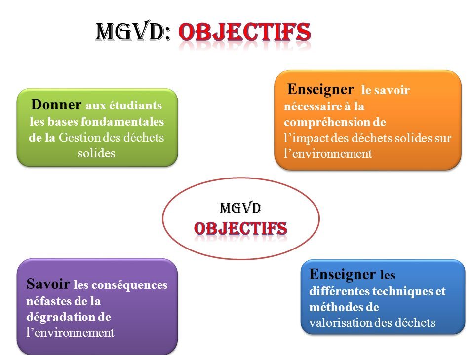 MGVD: objectifs OBJECTIFS