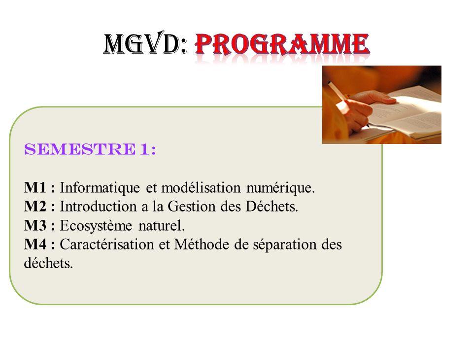 MGVD: Programme Semestre 1: