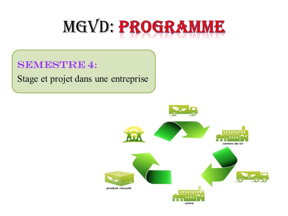 MGVD: Programme Semestre 4: Stage et projet dans une entreprise