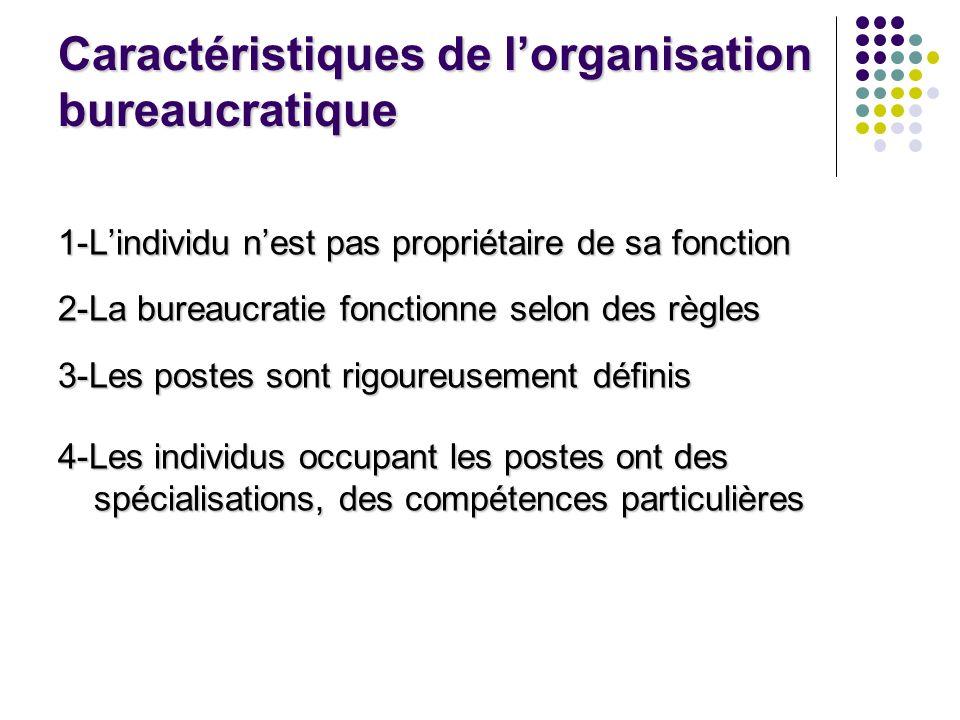 Caractéristiques de l'organisation bureaucratique