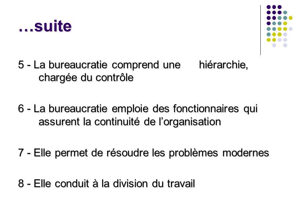 …suite 5 - La bureaucratie comprend une hiérarchie, chargée du contrôle.