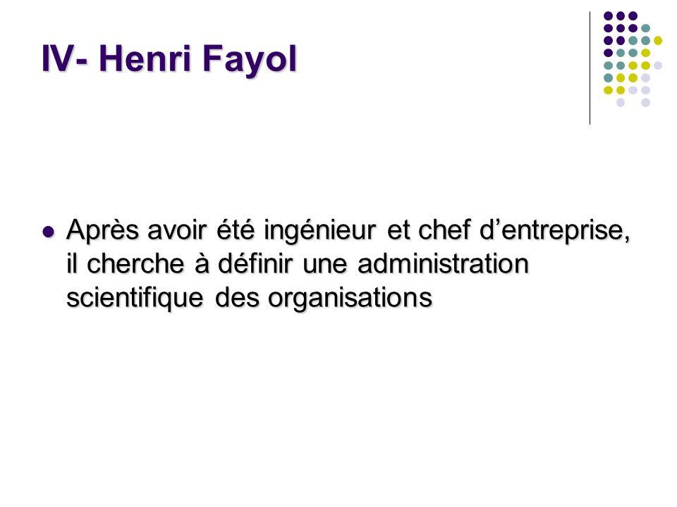 IV- Henri Fayol Après avoir été ingénieur et chef d'entreprise, il cherche à définir une administration scientifique des organisations.