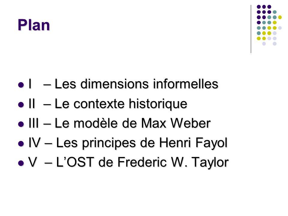 Plan I – Les dimensions informelles II – Le contexte historique