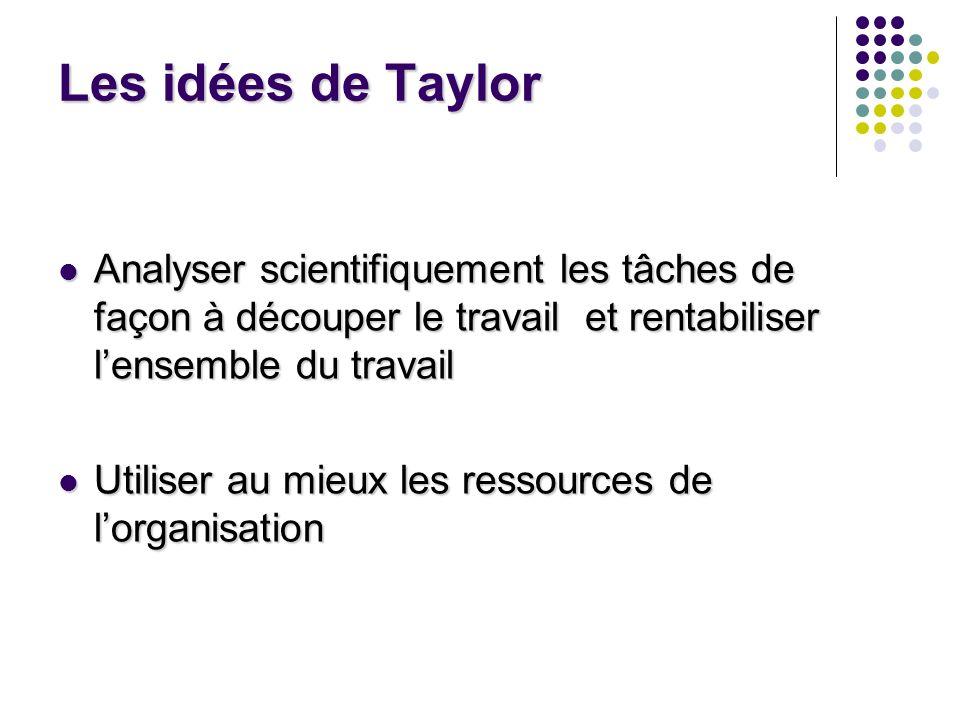 Les idées de Taylor Analyser scientifiquement les tâches de façon à découper le travail et rentabiliser l'ensemble du travail.